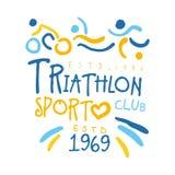 Logo de sport de triathlon depuis 1969 Illustration tirée par la main colorée Image stock