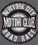 Logo de sports mécaniques, pièce en t, denim, débardeur et conception graphique de mode illustration libre de droits