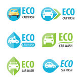 Logo de station de lavage d'Eco Images stock