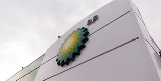 Logo de station service de BP de la société Photo stock