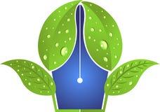 Logo de stylo de feuille Photographie stock