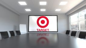 Logo de Target Corporation sur l'écran dans un lieu de réunion Rendu 3D éditorial illustration de vecteur