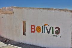 Logo de tourisme de la Bolivie Hôtel d'Eco de flamenco de visibilité directe Laguna Hedionda Département de Potosà bolivia Photo libre de droits