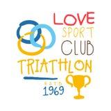 Logo de triathlon de club de sport d'amour depuis 1969 Illustration tirée par la main colorée Images stock