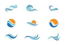 Logo de vague de plage d'océan illustration stock