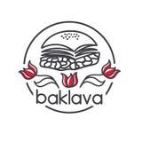 Logo de vecteur de baklava turque de dessert Photo libre de droits