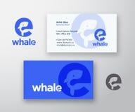 Logo de vecteur d'abrégé sur baleine et calibre de carte de visite professionnelle de visite Silhouette de baleine incorporée dan illustration de vecteur
