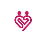 Logo de vecteur d'icône de coeur, symbole de relations illustration libre de droits