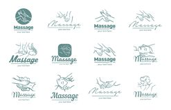 Logo de vecteur d'illustration de procédé de massage sur le fond blanc illustration libre de droits
