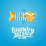 Logo de vecteur de blanchisserie, label Illustration Stock