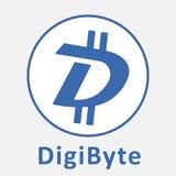 Logo de vecteur de criptocurrency de blockchain décentralisé par DGB de DigiByte Images libres de droits