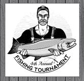 Logo de vecteur de pêche icône de pêcheur ou de poissons Photographie stock