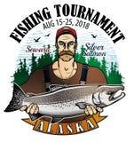 Logo de vecteur de pêche icône de pêcheur ou de poissons Photos libres de droits