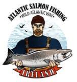 Logo de vecteur de pêche Icône de pêcheur ou de poissons de mer Photo stock