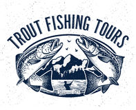 Logo de vecteur de pêche Icône de Salmon Fish Images libres de droits