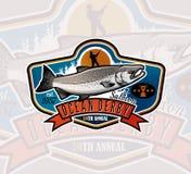 Logo de vecteur de pêche Icône de Salmon Fish Photographie stock