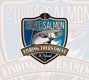 Logo de vecteur de pêche Icône de Salmon Fish illustration stock