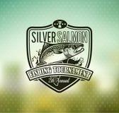 Logo de vecteur de pêche Icône de Salmon Fish Photo stock