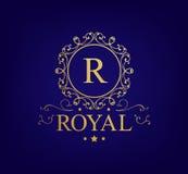 Logo de vecteur de vintage avec des remous S'épanouit le rétro logo de combinaisons calligraphiques, logo royal, cartes de voeux, Photos stock