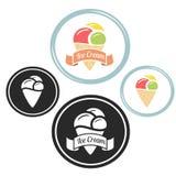 Logo de vieille école de vintage de crème glacée  Image libre de droits