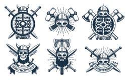 Logo de Viking réglé dans le rétro style de timbre illustration stock