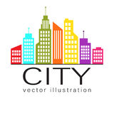 Logo de ville, icône de Web de bâtiment de vecteur Photo stock