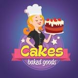 Logo de vintage Femme de sourire dans un chapeau de cuisinier avec le gâteau Image libre de droits
