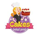 Logo de vintage Femme de sourire dans un chapeau de cuisinier avec le gâteau sur le fond blanc Photographie stock libre de droits