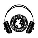 Logo de vintage de jour par radio du monde Rebecca 36 illustration libre de droits