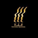 Logo de VIP, personne importante d'or sur un noir illustration libre de droits