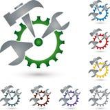 Logo de vitesse et d'outils, de mécanicien et de serrurier illustration libre de droits