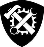 Logo de vitesse et d'outils, de serrurier et de mécanicien, label d'autocollant Images libres de droits