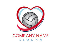 Logo de volleyball d'amour Photographie stock