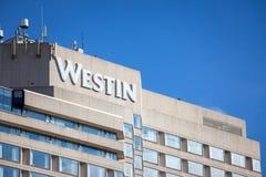 Logo de Westin sur leur hôtel principal à Ottawa, Ontario Westin est une marque, un propriétaire et une concession mondiaux des h photos stock