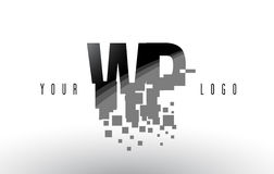 Logo de wp W.P. Pixel Letter avec les places noires brisées par Digital Photo libre de droits