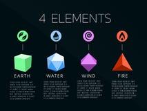 Logo degli elementi della natura 4 e segno del cristallo Acqua, fuoco, terra, aria Su fondo scuro Immagine Stock Libera da Diritti