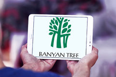 Logo degli hotel dell'albero di banyan Immagine Stock Libera da Diritti