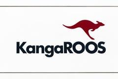 Logo dei canguri su una parete Immagini Stock