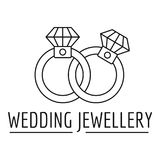 Logo dei gioielli delle fedi nuziali, stile del profilo illustrazione vettoriale