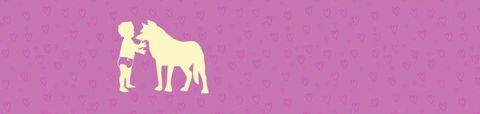 Logo del bambino sorridente che gioca con la siluetta del cane di animale domestico - elementi minimalisti di vettore Fotografia Stock Libera da Diritti