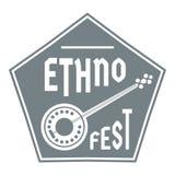 Logo del banjo, stile grigio semplice royalty illustrazione gratis