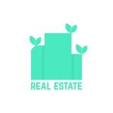 Logo del bene immobile con le foglie Fotografia Stock