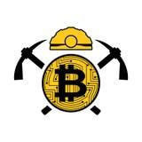 Logo del bitcoin di estrazione mineraria Emblema di Meiner Casco e piccone e moneta Fotografia Stock