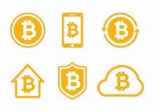 Logo del bitcoin di vettore Icona di Bitcoin Elementi di progettazione del bitcoin di vettore, distintivi, etichette Immagini Stock