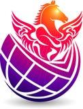 Logo del cavallo del globo Immagini Stock