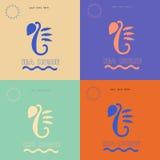 Logo del cavalluccio marino sugli ambiti di provenienza differenti Fotografia Stock