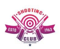 Logo del club della fucilazione, emblema, distintivo con due pistole Fotografie Stock