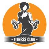 Logo del club di forma fisica con la formazione della donna atletica royalty illustrazione gratis
