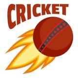 Logo del cricket della palla di fuoco rosso, stile piano illustrazione di stock