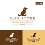 Logo del deposito del cane/affare Logo Idea di progettazione vettore dell'icona Fotografia Stock